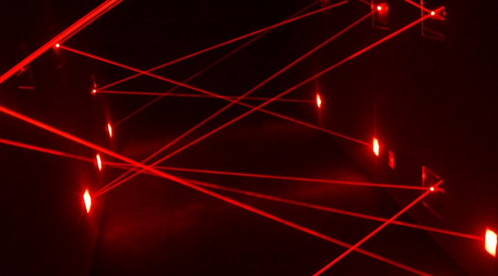 Laser maze within Omescape's Penitentiary.