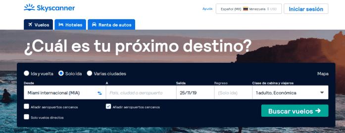 opción aeropuertos cercanos skyscanner