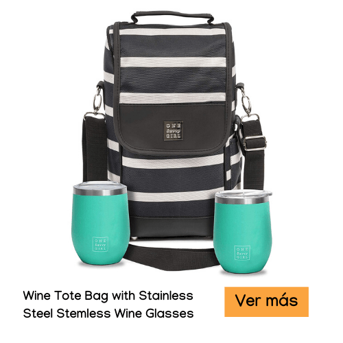 Wine Tote Bag with Stainless Steel Stemless Wine Glasses