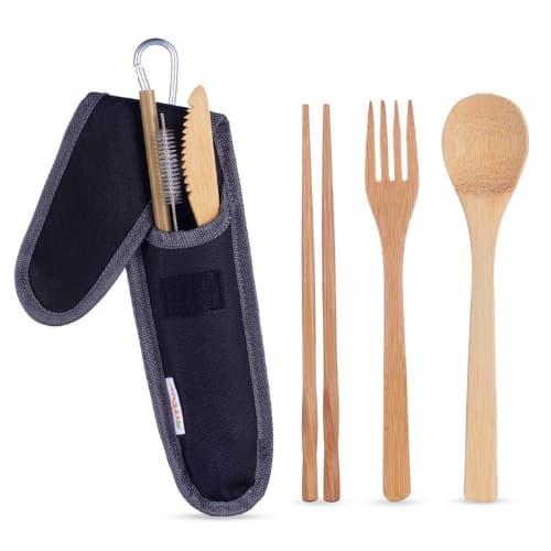 Producto para viajero -Juego de cubiertos de bambú reutilizables