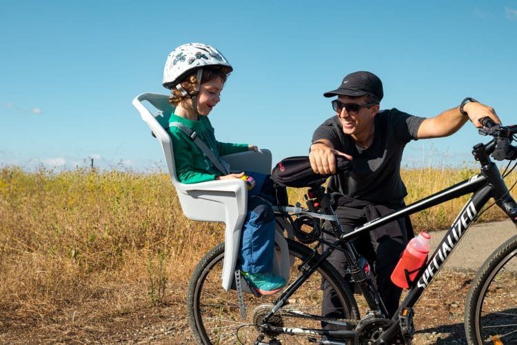 the bike chair childrens reading back mounted child bicycle seat our son hates it