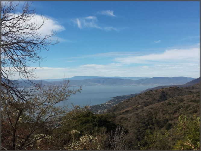 View of Lake Chapala from the mountains in Ajijic.