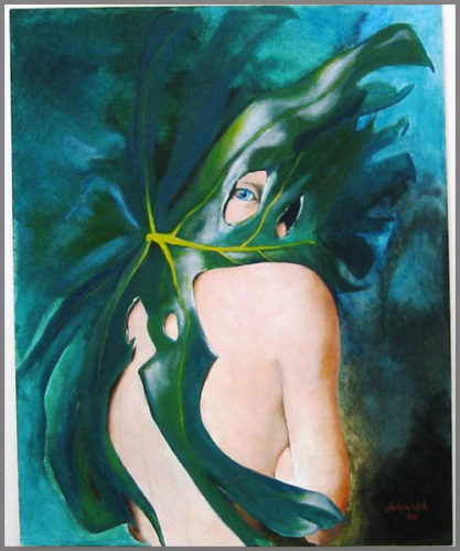 Untitled acrylic on canvas painting of a large leaf wrapped around a woman's face and upper body by Artist Judy Welch.