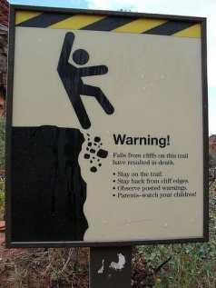falling sign warning