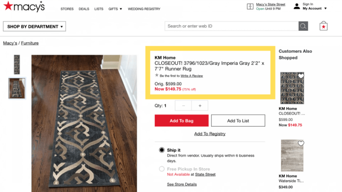 rugs price comparison name game