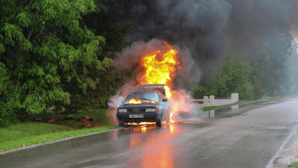 fire in car