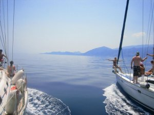 Cruising with a sailing yacht flotilla around the Ionian Islands in Western Greece