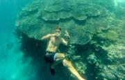 Posing underwater.