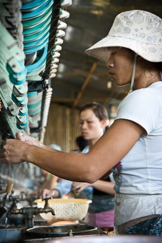 Silk weaving and production in Dalat