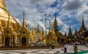 Going around the pagoda in silent prayer.