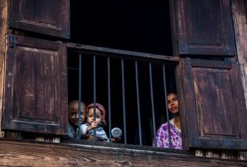Behind bars...but still having fun.