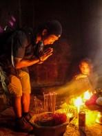 Inside Bayon, Angkor - praying