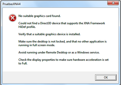 Error XNA 4: Could not find a Direct3D device that supports the XNA Framework HiDef profile (1/2)