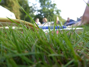 Notebook and pen in grass