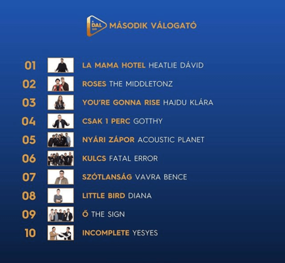 A Dal 2019 Heat2 Running order - Eurovision