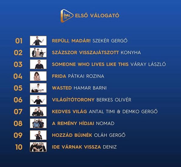 Eurovision A Dal 2019 SF1 Order