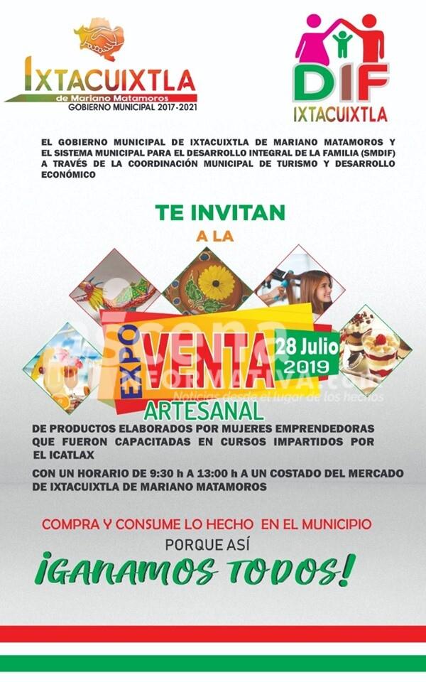 Invita Sistema Municipal DIF de Ixtacuixtla a Expo Venta mañana domingo.