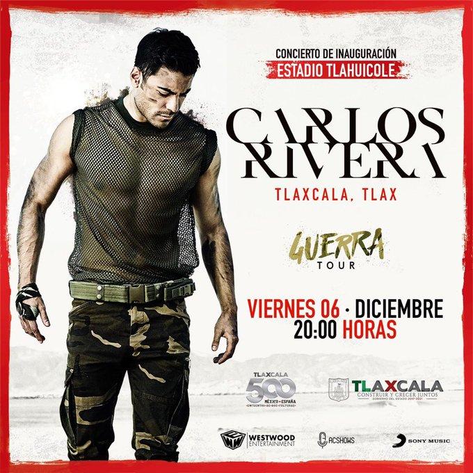 8 de diciembre el concierto gratuito de Carlos Rivera en Tlaxcala
