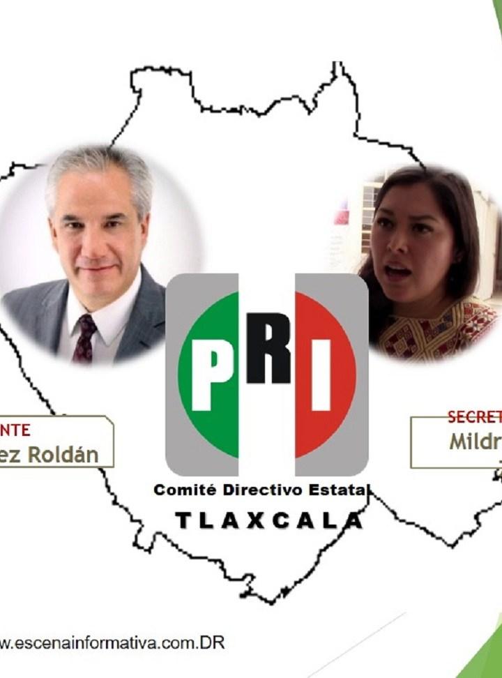 Noé Rodríguez y Mildred Vergara, virtuales Presidente y Secretaria General del PRI en Tlaxcala.