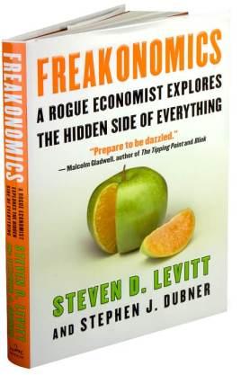 Portada del libro Freakonomics, de Steven D. Levitt y Stephen Dubner.