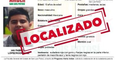 LOCALIZA FGESLP A MENOR DE 15 AÑOS QUE TENÍA ALERTA AMBER