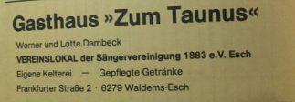"""Anzeige """"Gasthaus zu Taunus, Werner und Lotte Dambeck"""", Festschrift """"100 Jahre Chrogesang in Esch, 1983"""