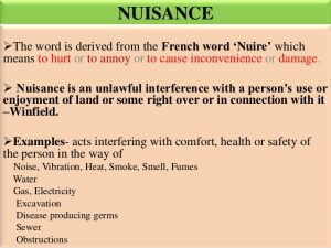 Types of nuisance