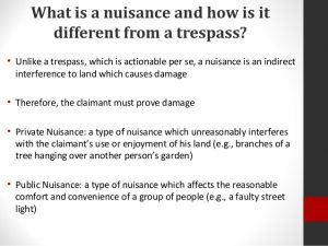 What is a tort in nuisance