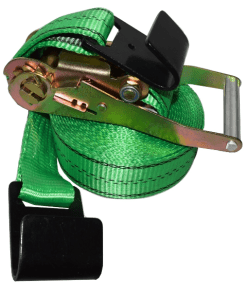 2x27 ratchet strap with black flat hook green webbing