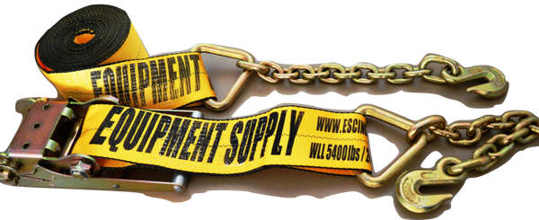 4in x 30ft ESC Premium Ratchet Strap with Chain Anchor - Yellow