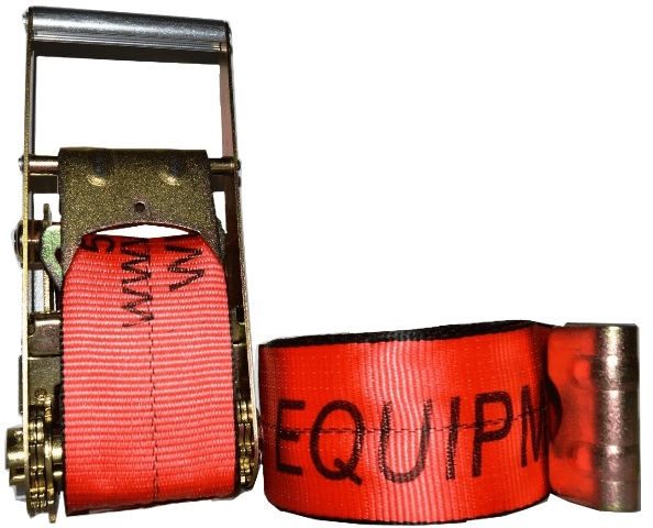 "4"" x 30' ratchet strap with flat hook esc brand red"