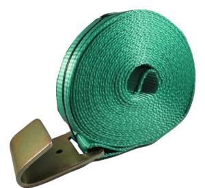 2x27 winch strap, flat hook, green