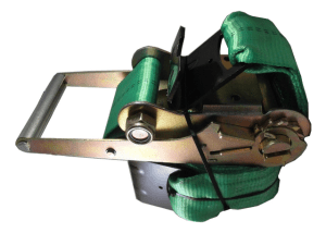 "4"" x 27' ratchet strap with flat hook green esc"