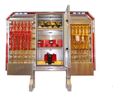 CAB RACK WITH CENTER ENCLOSURE, FULLY LOADED, 68 x 80, CHAINS, BINDERS, STRAPS, CORNER PROTECTORS