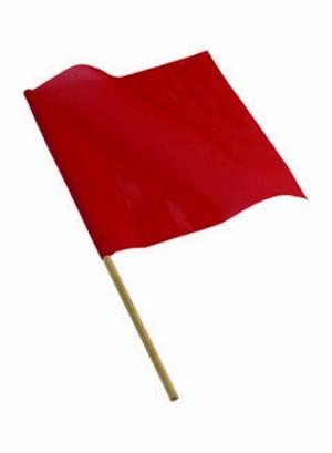 heavy duty Red Vinyl Mesh Flag on Wooden Dowel
