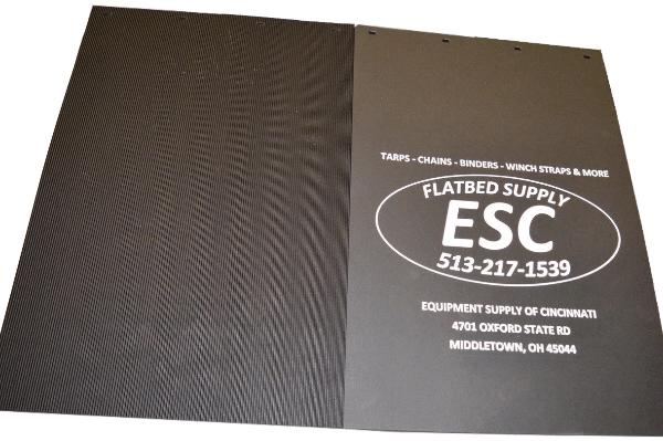 one fourth inch anti spray poly plus mudflap 24 by 36 esc logo black 2436PPSB