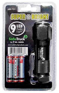 Super Bright 9 LED Flashlight - BLACK