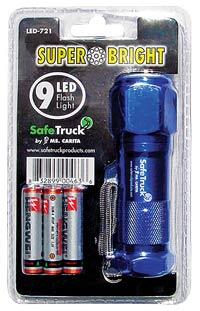Super Bright 9 LED Flashlight - BLUE