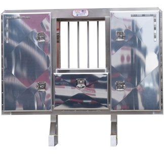 6880SVBW SPLIT VAULT VAB RACK W BAR WINDOW, TOOLBOX UNDER WINDOW, 2 CHAIN HANGERS, 2 SHELVES - OPTION 2