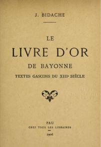 Le Livre d'Or de Bayonne - couverture édition 1906