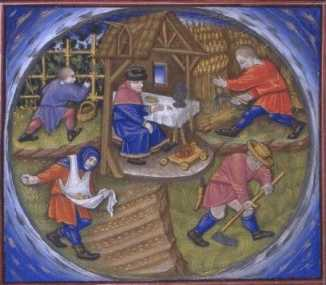 Travaux des champs au Moyen-Âge Nadau