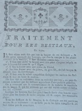 épizootie bovine - Remède diffusé en 1774 dans la généralité d'Auch pour lutter contre la maladie