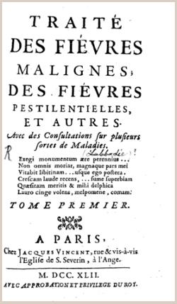 Épidémie - Traité des fièvres malignes, des fièvres pestilentielles et autres de Pierre Chirac, médecin du Roi (1742)