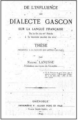 Maxime Lanusse - De l'influence du gascon sur la langue française (1893)