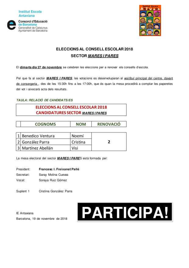 Candidats mares i pares consell escolar 2018-1