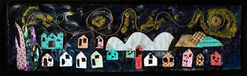 Obra realizada com materiais reciclados a partir da tela Noite Estrelada, de Vincent Van Gogh