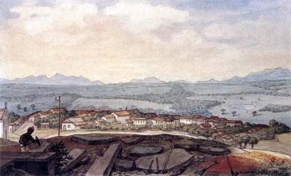 Aquarela de Jean Baptiste Debret, tida como a primeira iconografia da cidade, mostra a Vila de Curitiba a partir das ruínas do Alto São Francisco, com um homem negro exercendo o ofício de pedreiro/calceteiro, em 1827.