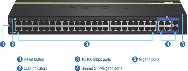 TRENDnet TEG 2248WS 48 Port 10 100 Mbps Web Smart Switch