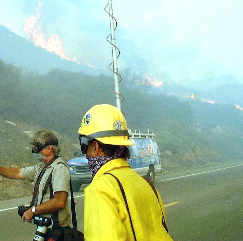 Media coverage along Del dies Highway.