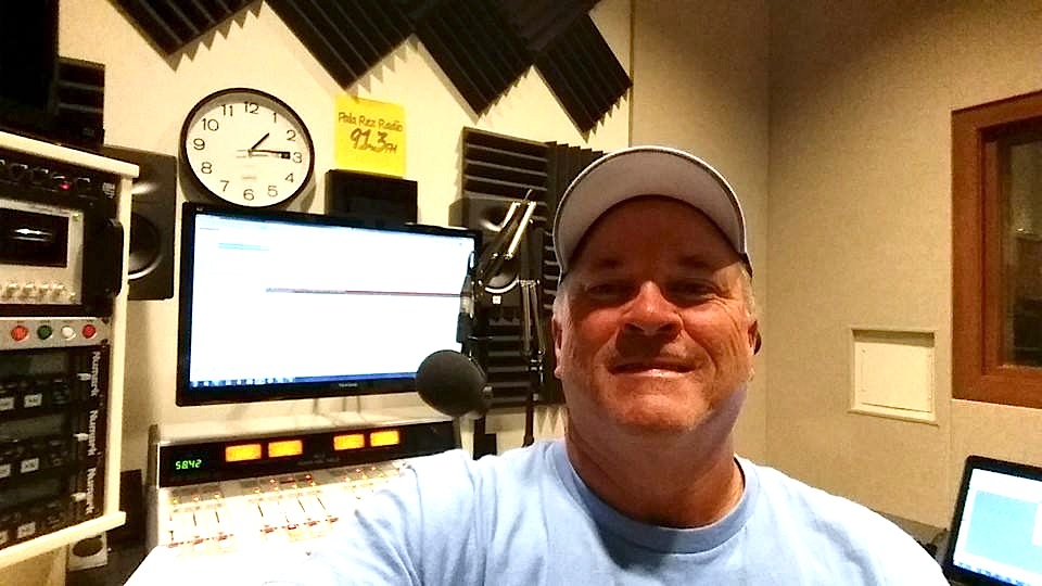Padres and sports TV camera operator/Groovy Trip radio host Mark Gleason at Pala Rez Radio, 91-3 at Pala.